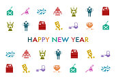 New Year Card. Illustration of Japanese culture icons.