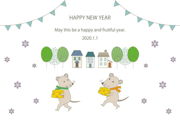 New year card illustration of two mice carrying cheese. vector art illustration