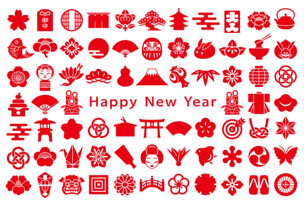 new year card. japanese design icons. - crane bird stock illustrations