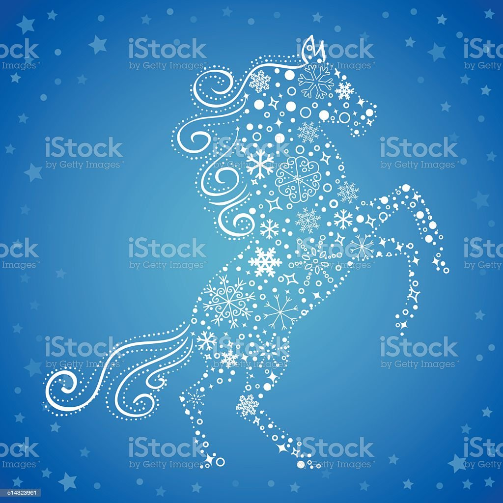 New Year card of Horse made snowflakes