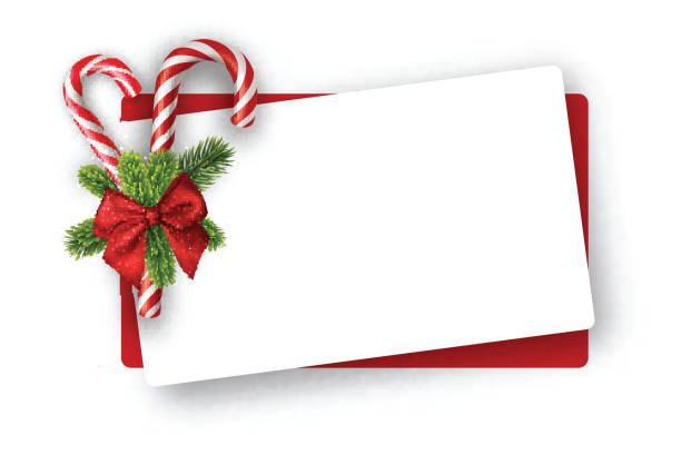 neujahrskarte mit zuckerstangen. - weihnachtsgeschenk stock-grafiken, -clipart, -cartoons und -symbole