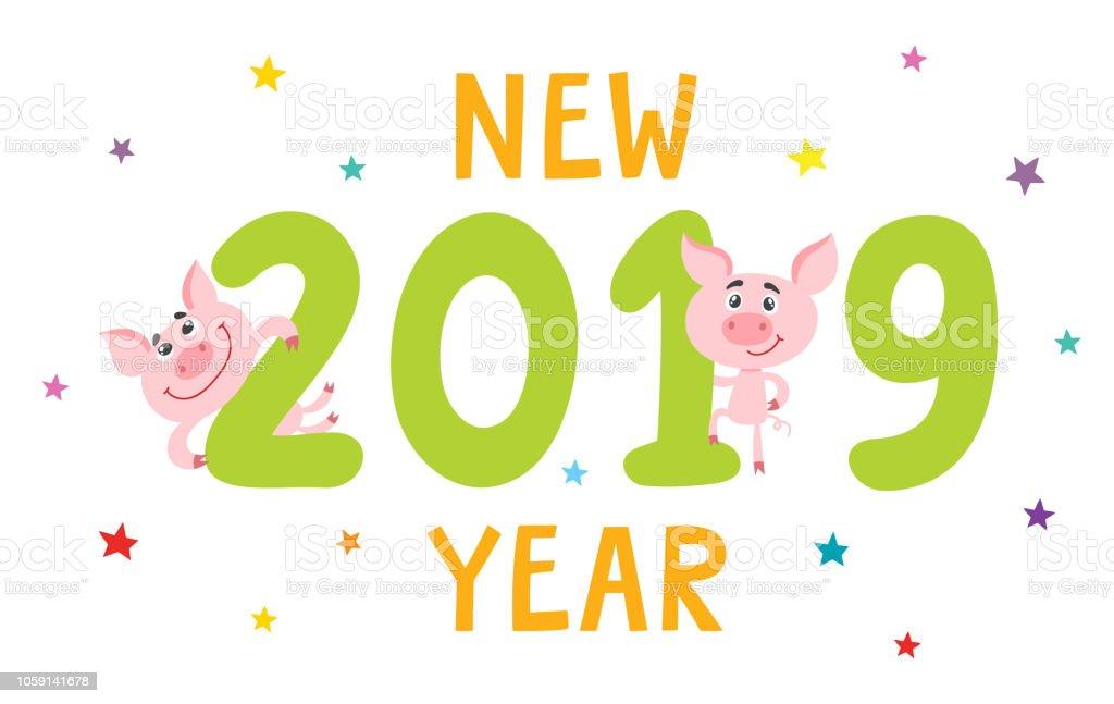 Quelque chose de nouveau assez Carte De Nouvel An Avec Cochon Dessin Animé Et 2019 Isolé Sur #XP_03