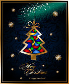 New year card with Christmas decorations in gold Christmas trees hanging on Christmas tree branche