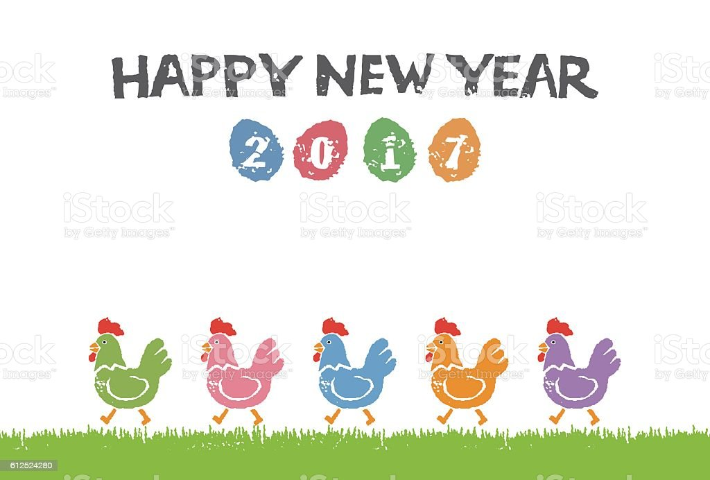 new year card with colorful chickens royalty free new year card with colorful chickens stock