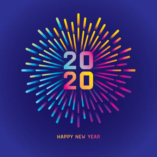 2020 New year card with colorful fireworks Exploding colorful gradient fireworks. Editable vector on layers.  This is an AI EPS 10 file format, with transparencies and gradients. pyrotechnic effects stock illustrations