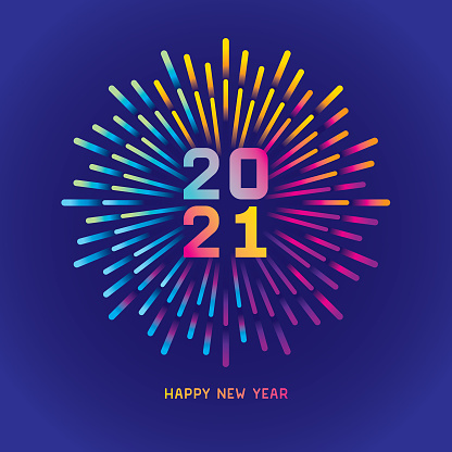2021 New year card with colorful fireworks
