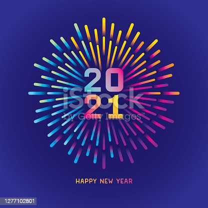istock 2021 New year card with colorful fireworks 1277102801