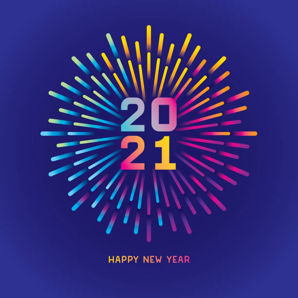 2021 New year card with colorful fireworks Exploding colorful gradient fireworks. Editable vectors on layers.  This is an AI EPS 10 file format, with transparencies and gradients. happy new year 2021 stock illustrations