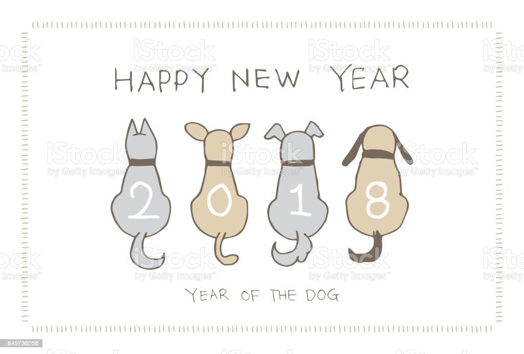 New Year Card with dogs for 2018 vector art illustration