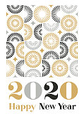 Happy New Year 2020 greeting with modern geometric semi circle pattern. Fully editable vector.