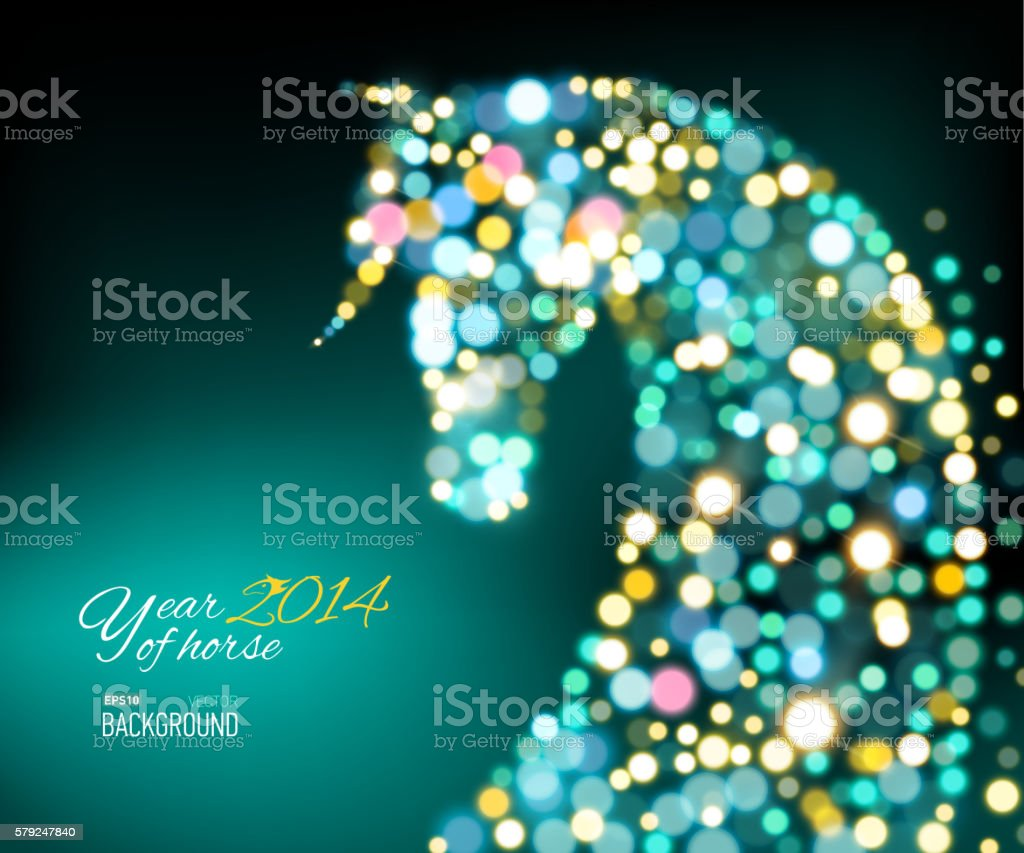 New Year Card with Horse of lights.