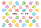 background of Japanese apricot icons. New Year's card.