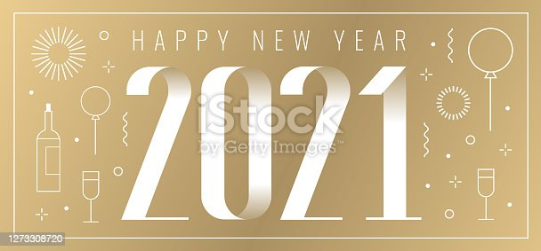 istock 2021 new year card with linear new year icons 1273308720
