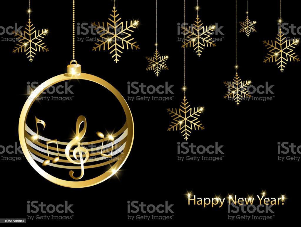 Müzik Arka Plan Ile Yeni Yıl Kartı Stok Vektör Sanatı Abdnin Daha