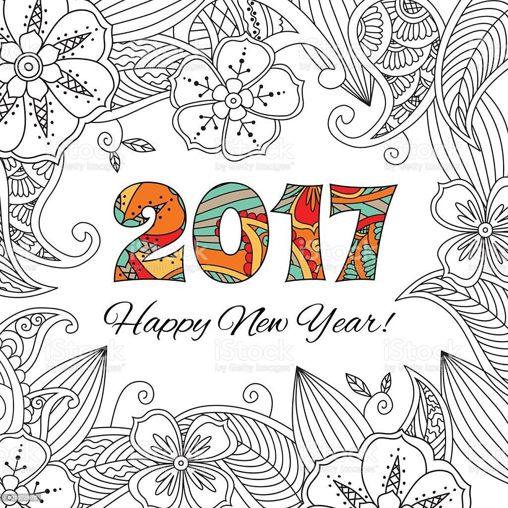 New year card with numbers 2017 on floral background. new year card with numbers 2017 on floral background – cliparts vectoriels et plus d'images de 2017 libre de droits