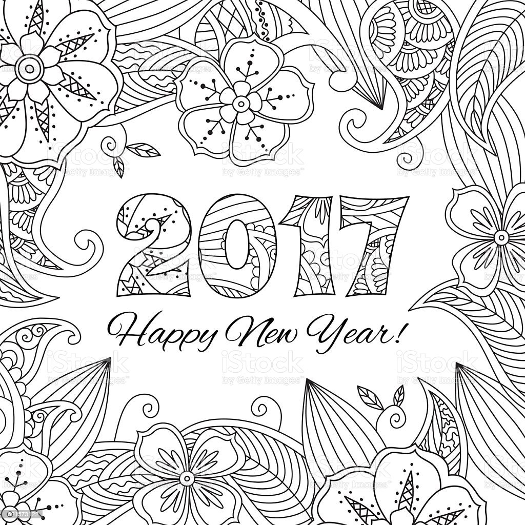 New Year Card With Numbers 2017 On Floral Background Stock Vector Holder Name Holders 6215 Royalty Free