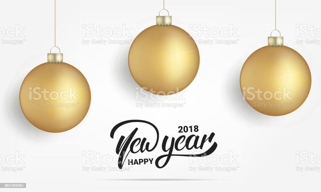New Year. Card with realistic gold Christmas balls. Happy New Year 2018 lettering banner design royalty-free new year card with realistic gold christmas balls happy new year 2018 lettering banner design stock vector art & more images of 2018