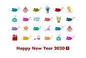 2020 New Year Card. Year of the rat, Year of the mouse. Illustration of mouse and Japanese culture icons.