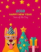 New year carnival with yellow dog in carnival mask