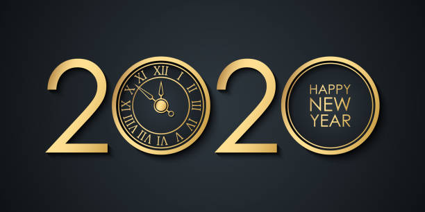 2020 New Year celebrate banner with 2020 numbers creative design, gold clock and Happy New Year holiday greetings. vector art illustration