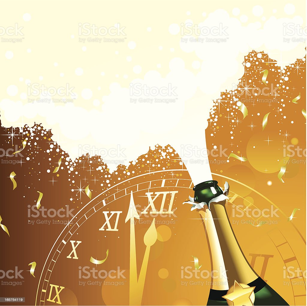 New Year celebration champagne with clock vector art illustration