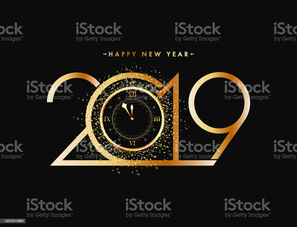 New Year celebration concept, golden text 2019 with glittering effect watch on black background. vector art illustration