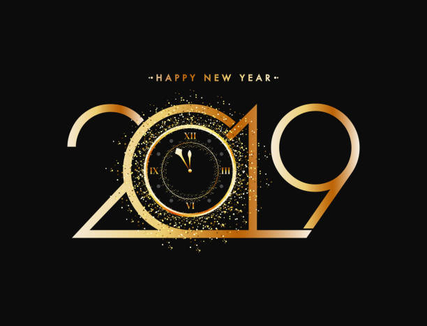 new year celebration concept golden text 2019 with glittering effect watch on black background