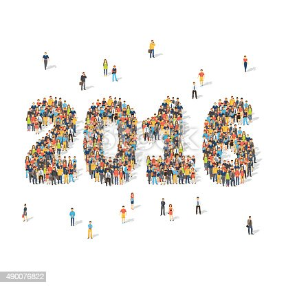 New year celebration concept. Crowds of people forming 2016 digits aerial view. Flat style vector illustration isolated on white background.