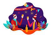 New year celebration flat illustration