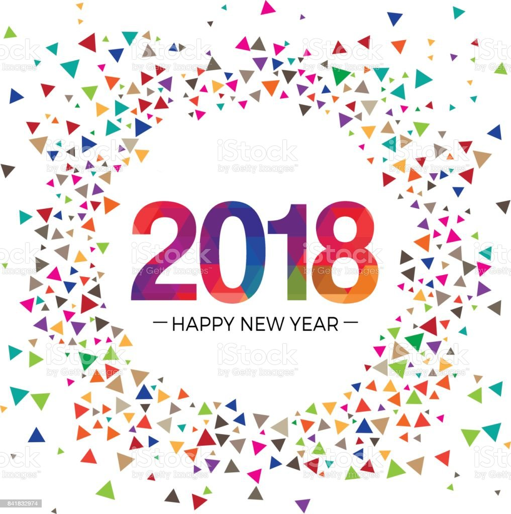 2018 New year Celebration greeting vector Illustration design template vector art illustration