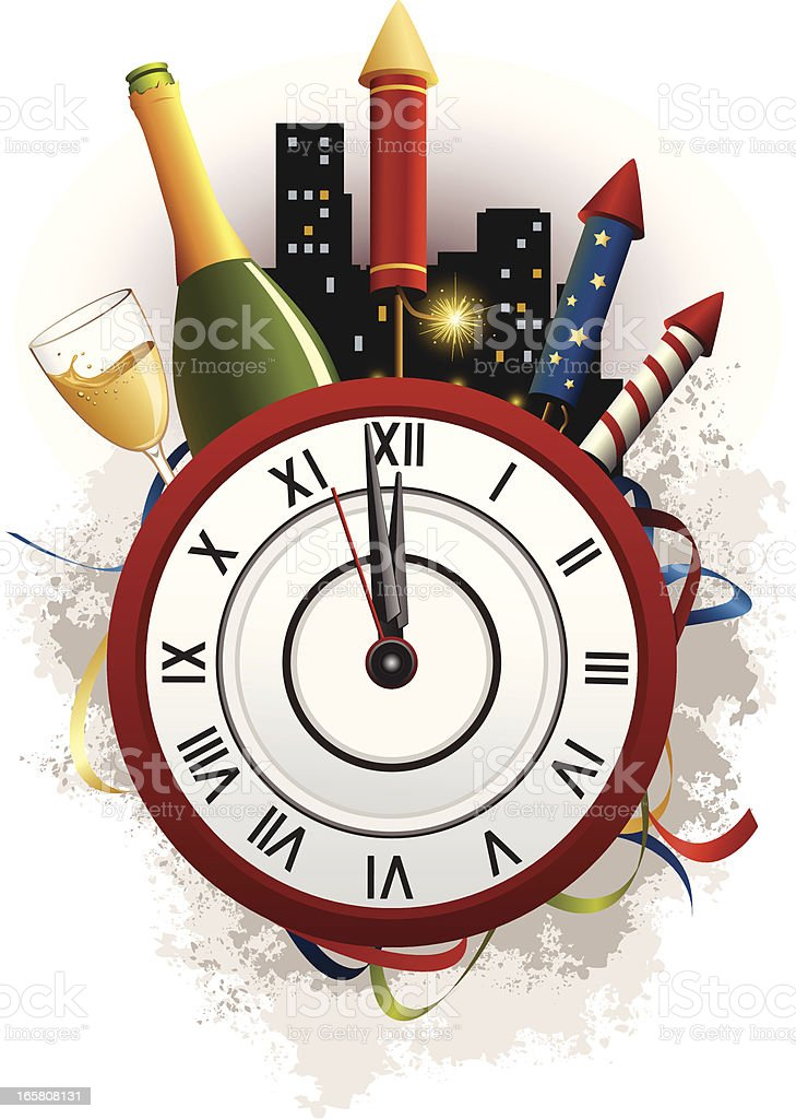 new year celebration icons with clock countdown royalty free stock vector art