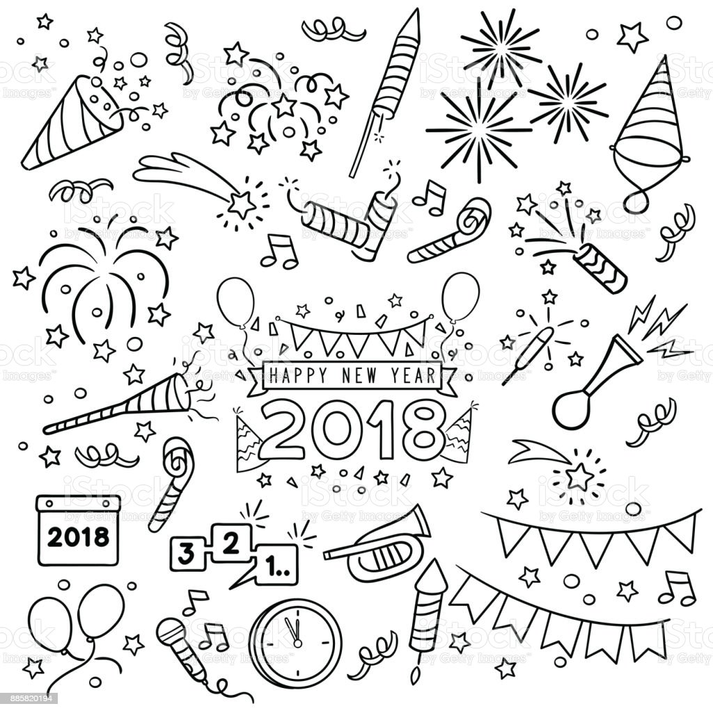 New year celebration line draw.