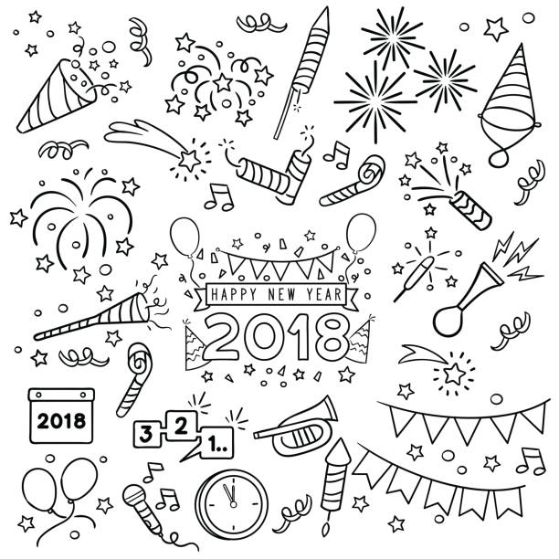 New year celebration line draw. New year party doodle elements in black isolated over white background doodle stock illustrations