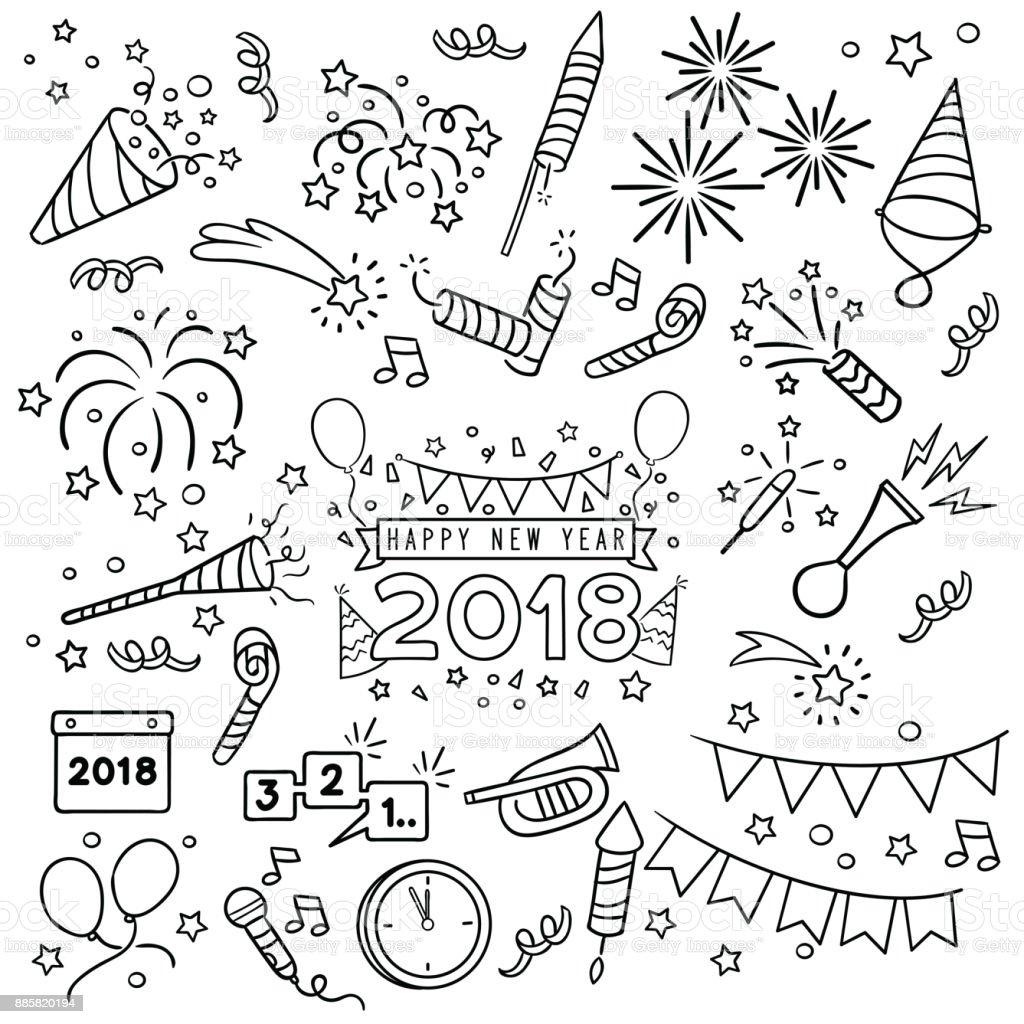 Llamar la línea de la celebración de año nuevo. - ilustración de arte vectorial