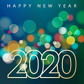 Join the celebration party for the New Year 2020 on the colorful sparkling light background