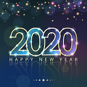Join the celebration party for the New Year 2020 with lights and outline of 2020 sparkling on the starry background