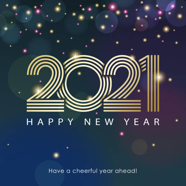 2021 New Year Celebrations Join the celebration party for the New Year 2021 with lights and outline of 2020 sparkling on the starry background happy new year 2021 stock illustrations