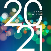 Join the celebration party for the New Year 2021 on the colorful sparkling light background