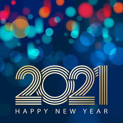 Join the celebration party for the New Year 2021 with outline of gold colored 2021 on the colorful sparkling light background