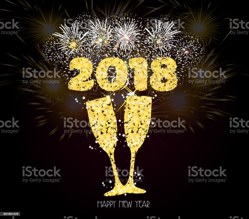 new year champagne toast golden 2018 background fireworks lights effects royalty free new year champagne