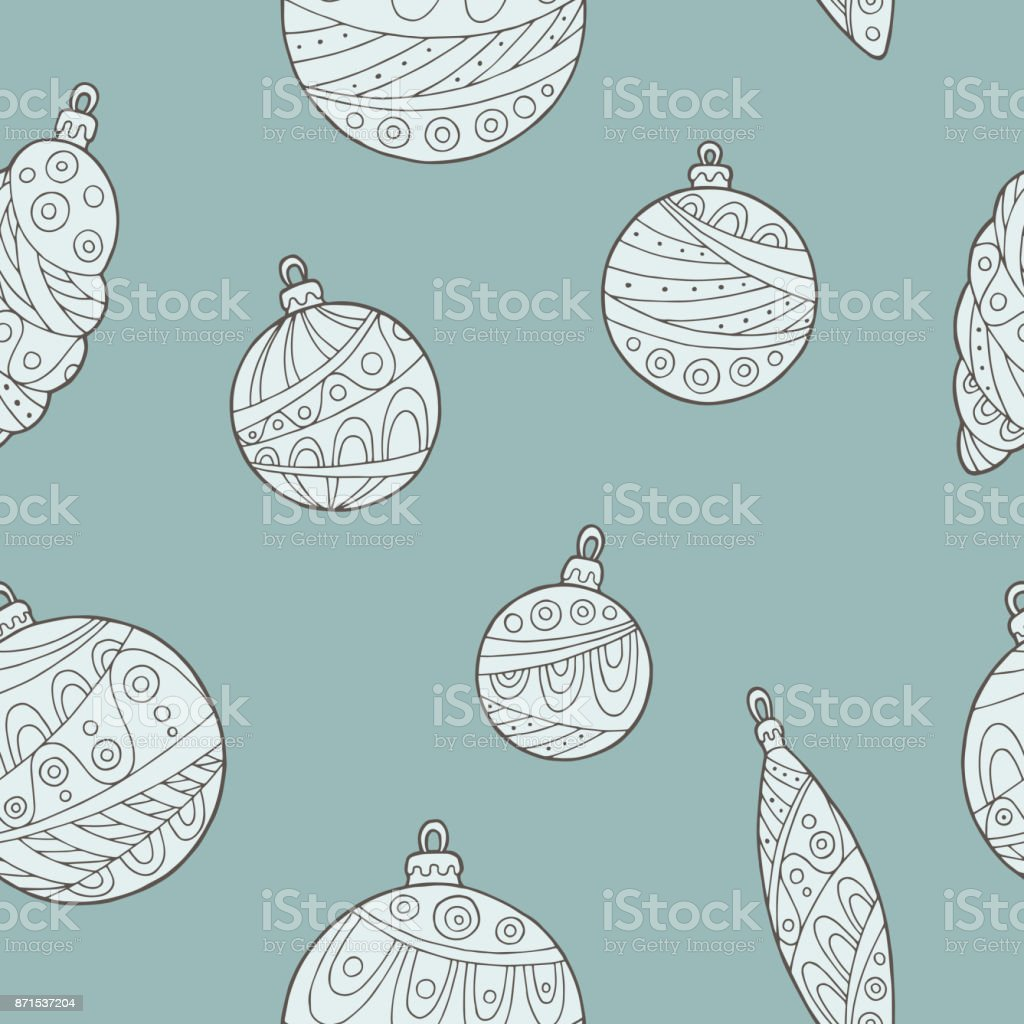 New year Christmas balls graphic color seamless pattern sketch illustration vector vector art illustration