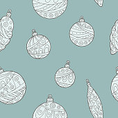 New year Christmas balls graphic color seamless pattern sketch illustration vector