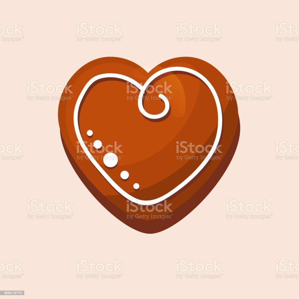 New Year, Christmas gingerbread, sweet pastries in form heart vector art illustration