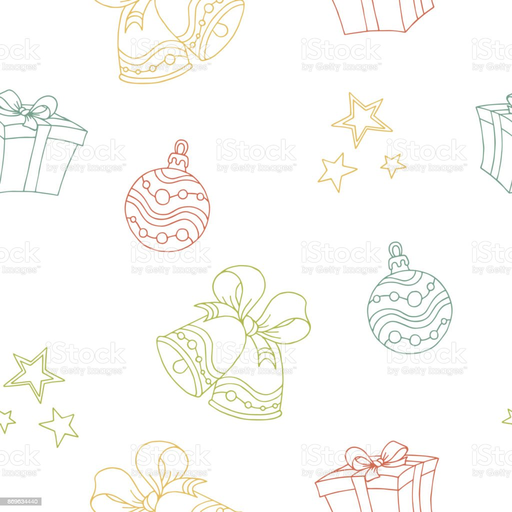 New year Christmas graphic color seamless pattern sketch illustration vector vector art illustration