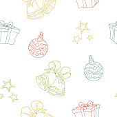 New year Christmas graphic color seamless pattern sketch illustration vector