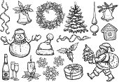 Christmas, New Year isolated sketch icons set. Vector santa with gifts bag, holly wreath, christmas tree ornament, topper spire, gingerbread house, snowflakes, bell with bow, ribbons, snowman, champagne glasses, candle, winter hat, mittens