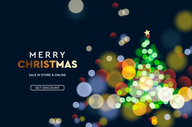 New Year. Christmas tree sparkle blur bokeh effect horizontal...