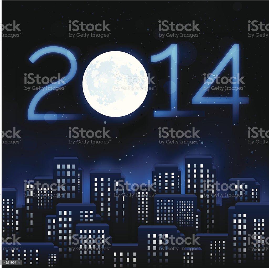 New Year City 2014 royalty-free stock vector art
