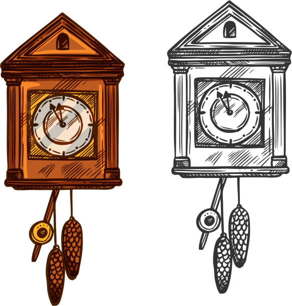 New Year classic wall clock vector sketch New Year clock. Vector isolated sketch cuckoo wall clock with pendulum and fir cones cones. Arrows in minutes before midnight. Retro symbol for christmas, new year celebration wall clock stock illustrations