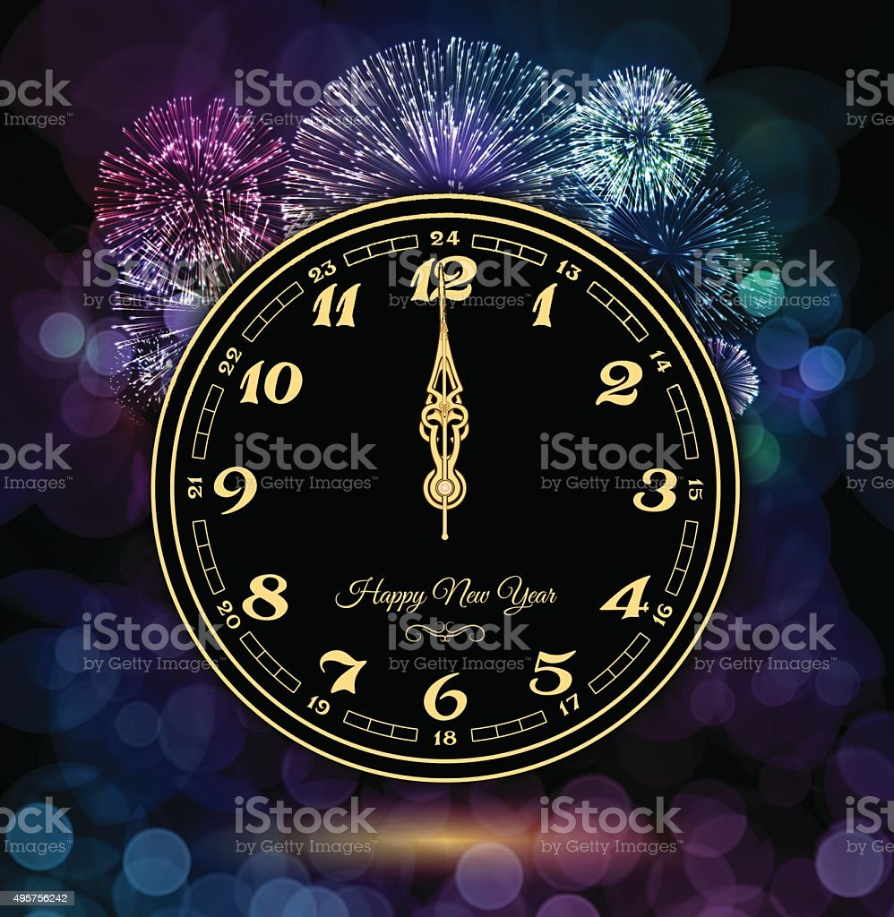 New Year Clock and Fireworks vector art illustration
